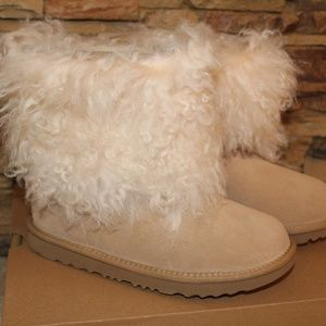 UGG Short Mongolian Cuff Boots YOUTH 5 WOMENS 7
